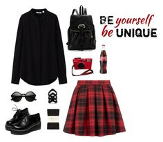 """~"" by jovanax97 ❤ liked on Polyvore featuring Uniqlo, Retrò, Falke, The Rogue + The Wolf and red"