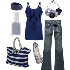 Beach cottage fashion totally loving this. White, blues and some nautical stripe.