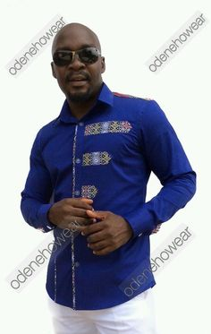 Odeneho Wear Mens Blue Polished Cotton Long Sleeves Top With Dashiki Design.  Our top and bottom are usually custom made. Please email us if you have
