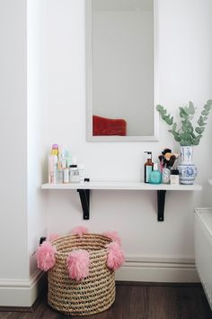 The Best IKEA Products for a Small Apartment - Coco's Tea Party - DIY vanity table for a small bedroom Bedroom Storage For Small Rooms, Bedroom Sets, Bedroom Decor, Bedroom Small, Ikea Shelves Bedroom, Organizing Small Bedrooms, Bedroom Table, Decor Room, Design Bedroom