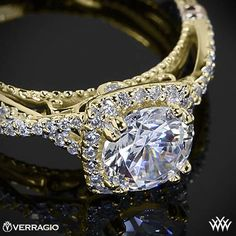 This Diamond Engagement Ring is from the Verragio Parisian Collection, Verragio Twisted Halo Diamond Engagement Ring