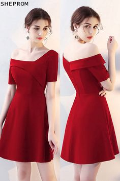 Shop Special Asymmetrical Off Shoulder Red Homecoming Dress with Sleeves online. SheProm offers formal, party, casual & more style dresses to fit your special occasions. Trendy Dresses, Short Dresses, Fashion Dresses, Girls Dresses, Prom Dresses, Formal Dresses, Red A Line Dress, Burgundy Homecoming Dresses, Ladies Dress Design