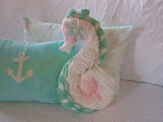 Seahorse Pillow. Vintage Chenille Sea Green, Pink and White. Under the Sea Nautical Decor for Coastal Living by searchnrescue2. $55.00, via Etsy.
