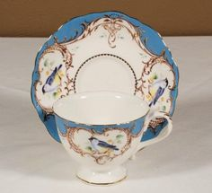 Peacock Blue Bird Low Priced Porcelain Tea Cups Teacups and Saucers