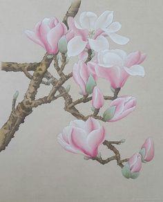 Картина Магнолии в стиле китайской живописи гунби – купить в интернет-магазине на Ярмарке Мастеров с доставкой
