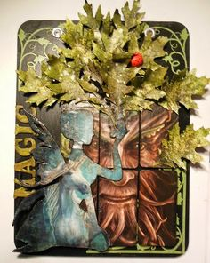 Ngaere - Wall hanging made using Imagine If large chipboard fairy and ivy flourishes