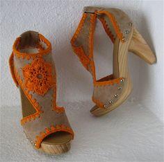Platform Clog Shoe Beige Suede with Orange Crochet Flower detail Wooden Heels - Karen Kell Collection