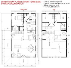 Floor Plan Pre Designed Great Plains Eastern Horse Barn Home Kit Image