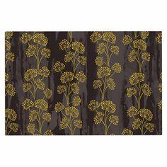 """Neelam Kaur """"Textured Floral Elegance"""" Brown Yellow Decorative Door Mat"""