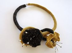 Contemporary necklace. Flower statement necklace. by PopisBOUTIQUE