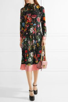 Gucci - Pleated Printed Silk Crepe De Chine Dress - Black - IT40