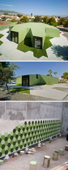 Crystalzoo Architecture designed this administrative building in La Nucia, Spain, which is covered in thousands of hexagonal tiles in three shades of green.