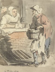 """Paul Sandby, 1731-1809, British, London Cries: """"Any Kitchen Stuff"""", ca. 1759, Watercolor and black chalk and graphite on medium, cream, slightly textured laid paper, Yale Center for British Art, Paul Mellon Collection"""
