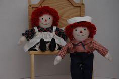 Raggedy Ann and Andy 9 inch handmade dolls by MandMneedles on Etsy