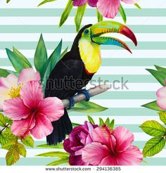Vector watercolor hand-drawn illustration. Seamless pattern with sitting on a branch rainbow toucan and topical plants on a striped background. Beautiful flowers and bird. Roses, hibiscus, palm tree - stock vector