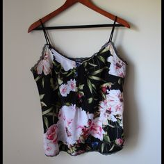 """Floral print camisole Floral print camisole - non adjustable straps - polyester - chest across measures 18.5"""" - total length measures 22"""" - tag says S but can also fit M New York & Company Tops"""