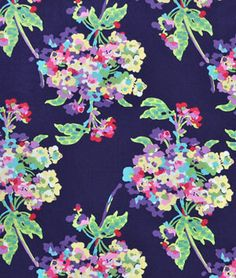 The colors in this print are gorgeous...inspiration for all kinds of things!  Amy Butler Water Bouquet Midnight Fabric - $8.95 | onlinefabricstore.net