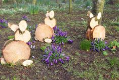 DIY rabbits out of firewood. Wood Pallets, Firewood, Texture, Garden, Crafts, Inspiration, Easter Ideas, Rabbits, Fairy