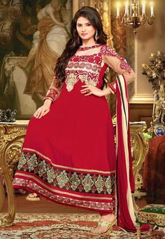 An alluring Red Color Pure Georgette Designer Anarkali Suit featuring a richly embroidered yoke, bodice and sleeves