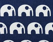 Elephants on Kyoto Blue in 100% Organic quilters weight cotton.