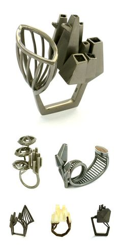 Industrial architecture meets organic nature - sculptural rings; contemporary jewellery design // Nicole Schuster