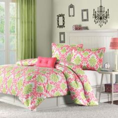 http://www.home2kitchen.com/category/Xl-Twin-Comforter/ Pink and green Twin XL Comforter Bedding Set for college students
