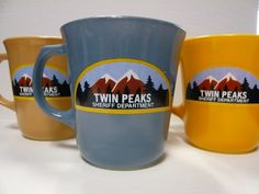 """In the Trees: TWIN PEAKS Anniversary Art Exhibition: New official """"Twin Peaks"""" merchandise available this Wednesday Twin Peaks, Great Coffee, In The Tree, Mugs, My Love, 20th Anniversary, Sheriff Department, Screen Printer, Geeks"""