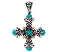 Barbara Bixby Sterling & 18K Opal Triplet & Turquoise Cross Enhancer