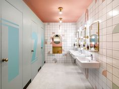 A former opium factory and artist residence in the heart of Shanghai has been transformed by Linehouse into a colorful coworking space, WeWork Weihai Lu. School Bathroom, Bathroom Kids, Bathroom Design Small, Master Bathroom, Coworking Space, Bad Inspiration, Bathroom Inspiration, Vintage Loft, Toilette Design