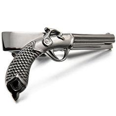 Men's Rhodium Plated Necktie Tie Clip Bar Black Gun Pistol