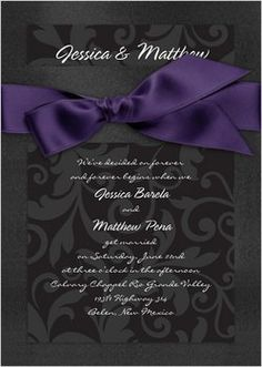 Wedding, Purple, Black, Invitations, Bridal, Davids