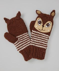 Take a look at this Brown Be a Deer Mittens by Capelli New York on #zulily today!