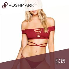 ✨NEW✨ FARRAH Off Shoulder Bikini Gorgeous Off Shoulder Bikini. Top has Light padding which is removable. Comment to mix sizes for top and bottom, otherwise will ship per size selected. Top fits TRUE TO SIZE. I'm a 36/DD And wear the large top. Bottoms are VERY CHEEKY- recommend sizing up. BRAND NEW NO TAGS. Will SELL TOP separately for $22.   Measurements as follows (Measured flat- keep in mind material expands)  Small T: 25in  Small B: 25-26  Med T: 26in Med B: 26-27/28 Large T: 28in Large…