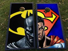 Batman vs Superman corn hole/bags set! Faceplates are interchangeable! Visit fanbagscornhole.com