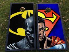 Batman vs Superman corn hole/bags set!  Faceplates are interchangeable!    Visit fanbagscornhole.com