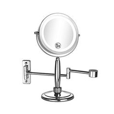 ALHAKIN 3 In 1 Makeup Mirror Wall Mount Mirror Table Mirror Hand Mirror with 5x MagnificationLED Light Chrome Finish ** Check this awesome product by going to the link at the image.