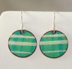 Copper Enamel Penny Earrings Turquoise Green  Off by roadkiln, $15.00