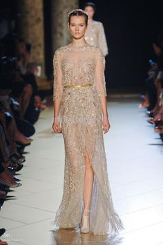 Wholesale champagne long sleeves mermaid Elie Saab evening dress gown with Beaded lace, Free shipping, $201.6-229.6/Piece | DHgate