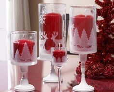 Martha Stewart Holiday Etched Hurricanes is part of Christmas crafts Painting - Enchanted glass hurricanes for the holidays Christmas Candle Holders, Christmas Candles, Christmas Decorations, Candle Decorations, Noel Christmas, Christmas Projects, Holiday Crafts, Modern Christmas, Scandinavian Christmas