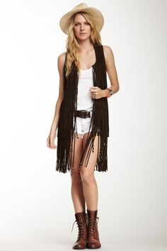 True Religion Carly Long Fringed Suede Vest