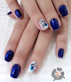 Amazing short acrylic nails designs to express yourself 86 Acrylic Nail Designs, Nail Art Designs, Acrylic Nails, Funky Nails, Blue Nails, Art Deco Nails, Girls Nail Designs, Long Nail Art, Girls Nails