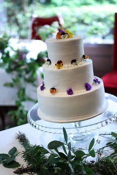 beautiful viola wedding cake  handmade by my sister, Seiko