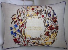 Artistic Embroidery Berry Ring Earth Stars Cushion by LMDSimplyBe,