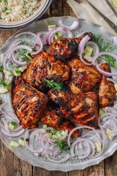 Grilled Tandoori Chicken with Indian-Style Rice Recipe on Yummly. yummly Grilled Tandoori Chicken with Indian-Style Rice Recipe on Yummly. Grilled Tandoori Chicken Recipe, Tandori Chicken, Tandoori Recipes, Chicken Kebab, Gourmet Chicken, Chicken Tikka, Chicken Rice, Rice Recipes, Chicken