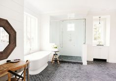 Bright and white bathroom with shiplap walls