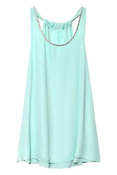 Diamante Layered Cut-out Mint Dress #ROMWE