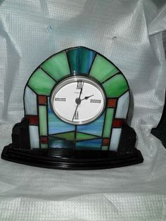 Art Deco Style Stained Glass Linden Clock