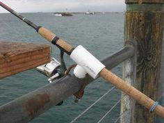 Homemade dock fishing rod holders.