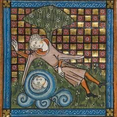 Narcissus, Roman de la Rose, France ca. 1340 (BL, Royal 20 A XVII, fol. 14v)