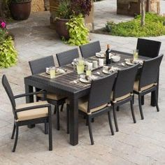 RST Brands, Deco 9-Piece Patio Dining Set with Delano Beige Cushions, OP-PETS9-DEC-DEL-K at The Home Depot - Mobile